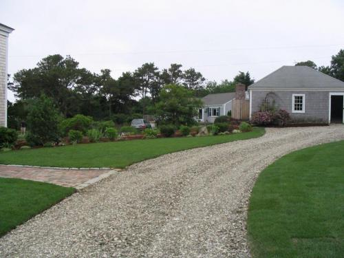 Driveway, Cobblestone Edging, Plantings